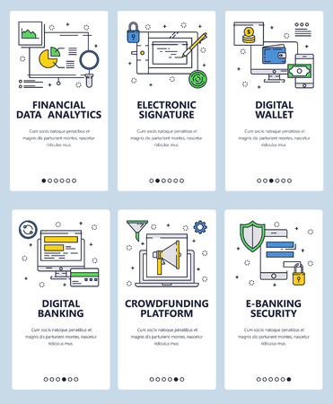 Vector web site linear art onboarding screens template. Digital banking and online money transfer. Finance and data analytics. Menu banners for website and mobile app development. Modern design flat illustration.