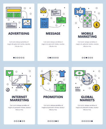 Vector web site linear art onboarding screens template. Internet marketing and advertising icons. Menu banners for website and mobile app development. Modern design flat illustration.