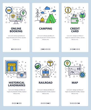 Vector set of mobile app onboarding screens. Online booking, Camping, Credit card, Historical landmarks, Railroad, Map web templates, banners. Thin line art flat icons for website menu.