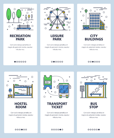 Vector set of mobile app onboarding screens. Recreation and leisure parks, City buildings, Hostel room, Transport ticket, Bus stop web templates and banners. Thin line art flat icons for website menu.