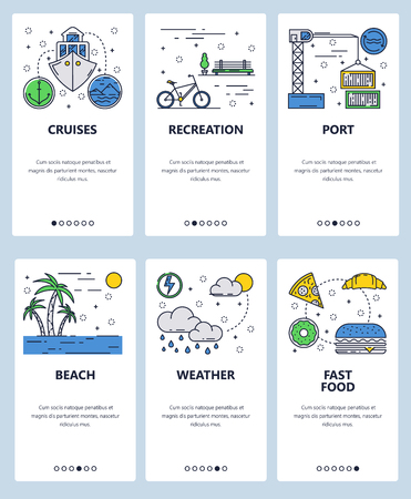 Vector set of mobile app onboarding screens. Cruises, Recreation, Port, Beach, Weather, Fast food web templates, banners. Thin line art flat icons for website menu. Иллюстрация