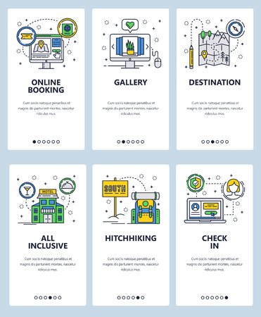 Vector set of mobile app onboarding screens. Online booking, Gallery, Destination, All inclusive, Hitchhiking, Check in web templates, banners. Thin line art flat icons for website menu.