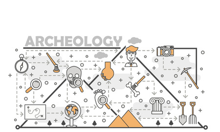 Vector thin line art archaeology poster banner template