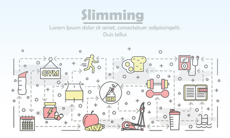 Slimming advertising poster banner template. Fitness, dieting and healthy lifestyle vector thin line art flat style design elements, icons for web banners and printed materials.