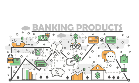 Banking products poster banner template. Vector thin line art flat style design elements, icons for web banners and printed materials. Vectores