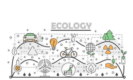 Vector thin line art ecology poster banner template
