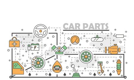 Modèle de bannière d'affiche de pièces de voiture. Les pièces de rechange automobiles vectorisent des éléments de conception de style plat d'art en ligne mince, des icônes pour les bannières Web et les documents imprimés.