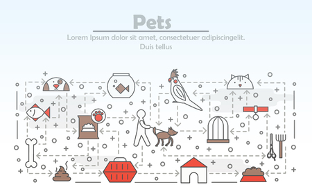 Pets advertising poster banner template. Cat, dog, parrot, fish, pets food, grooming tools, accessories. Vector thin line art flat style design elements, icons for web banners, printed materials.