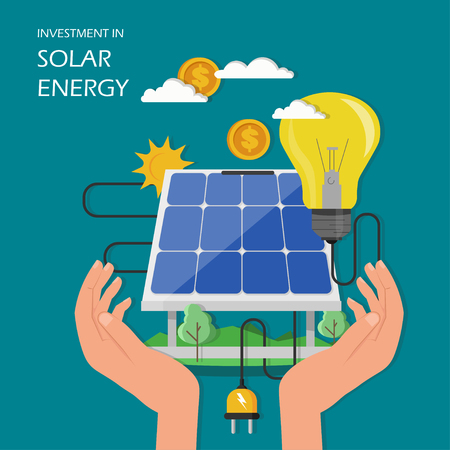 Investment in solar energy concept vector illustration. Human hands holding solar panel with dollar coin and light bulb connected to solar panel. Flat style design element for poster banner etc.