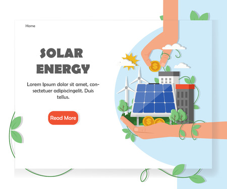 Solar renewable energy website homepage template. Vector flat style design element with copy space and read more button.