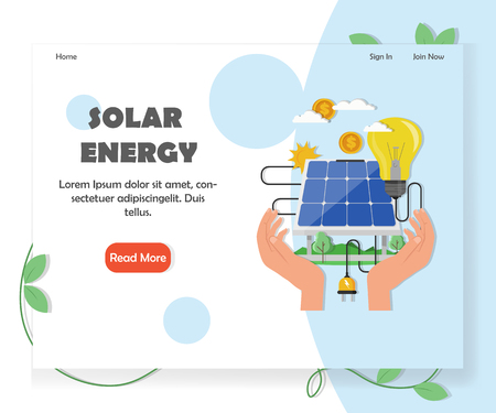 Green solar and renewable energy website homepage template. Vector flat style design element with copy space and read more button.