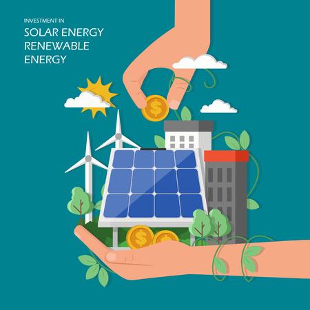 Investition in erneuerbare Solarenergiekonzept-Vektorillustration. Grüne Stadt mit Windmühlen, Sonnenkollektoren, menschlichen Händen und Dollarmünzen. Flaches Designelement für Webvorlagen, Poster, Banner usw. Vektorgrafik