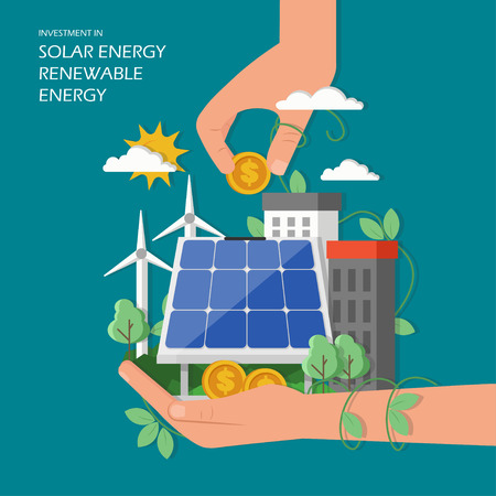 Investment in solar renewable energy concept vector illustration. Green city with wind mills, solar panel, human hands and dollar coins. Flat style design element for web template, poster, banner etc. Иллюстрация