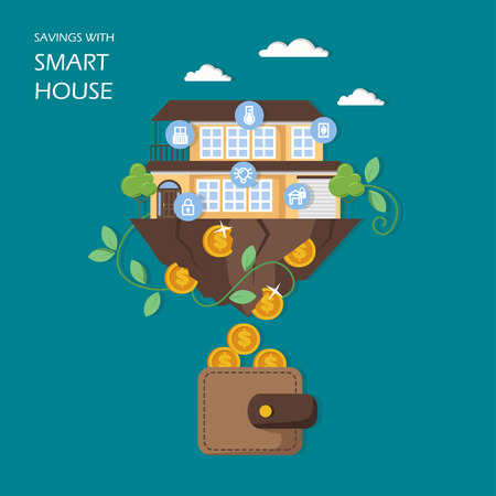 Savings with smart house concept vector flat illustration. House with automated home security, lighting and other systems controlled remotely, dollar coins falling out of building into wallet. 向量圖像