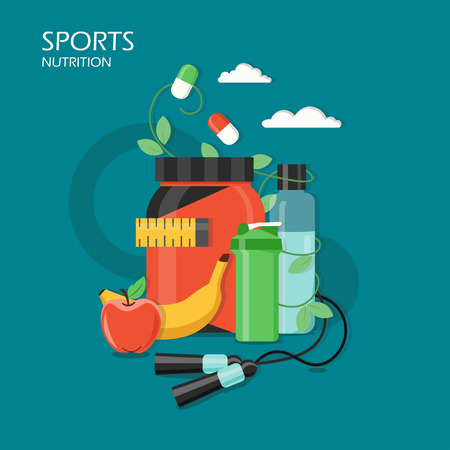 Sports nutrition vector illustration in flat style