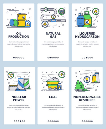 Vector set of mobile app onboarding screens. Oil production, Natural gas, Liquefied hydrocarbon, Nuclear power, Coal, Non-renewable resource web templates, banners. Thin line art flat icons for web.