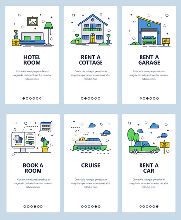 Vector set of mobile app onboarding screens. Hotel room, Rent a car, cottage and garage, Book a room, Cruise web templates and banners. Thin line art flat icons for website menu.