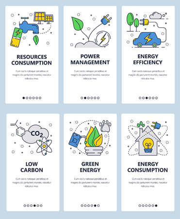 Vector set of mobile app onboarding screens. Resources consumption, Power management, Energy efficiency, Low carbon, Green energy web templates and banners. Thin line art flat icons for website menu.