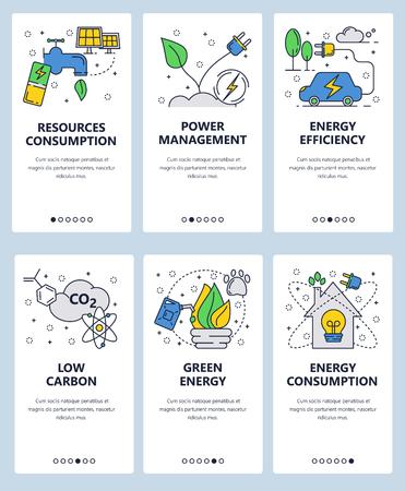 Vektorset von Onboarding-Bildschirmen für mobile Apps. Ressourcenverbrauch, Energieverwaltung, Energieeffizienz, CO2-arme, grüne Energie-Webvorlagen und -Banner. Flache Ikonen der dünnen Linie Kunst für das Website-Menü.
