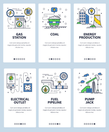 Vector set of mobile app onboarding screens. Gas station, Coal, Energy production, Electrical outlet, Fuel pipeline, Pump jack web templates and banners. Thin line art flat icons for website menu.
