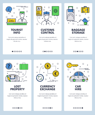 Vector set of mobile app onboarding screens. Tourist info, Customs control, Baggage storage, Lost property, Currency exchange, Car hire web templates banners. Thin line art flat icons for website menu Illustration