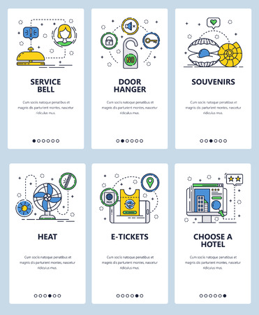 Vector set of mobile app onboarding screens. Service bell, Door hanger, Souvenirs, Heat, E-tickets, Choose a hotel web templates and banners. Thin line art flat icons for website menu. Stock Illustratie