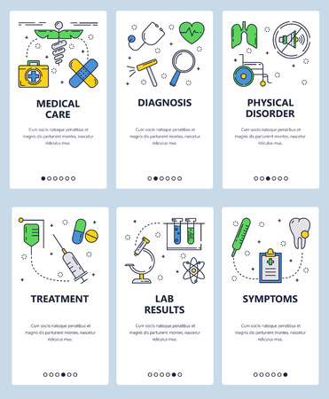 Vector set of mobile app onboarding screens. Medical care, Diagnosis, Physical disorder, Treatment, Lab results, Symptoms web templates and banners. Thin line art flat icons for website menu.