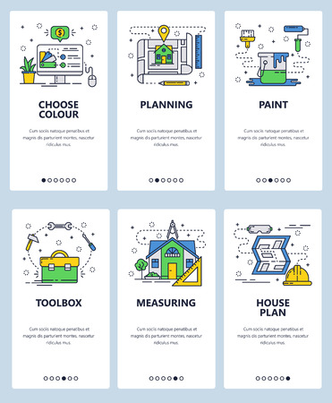 Vector set of mobile app onboarding screens. Choose colour, Planning, Paint, Toolbox, Measuring, House plan web templates and banners. Thin line art flat icons for website menu. Vector Illustration