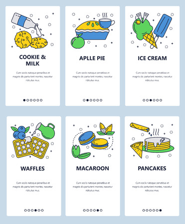 Vector set of mobile app onboarding screens. Cookie and milk, Apple pie, Ice cream, Waffles, Macaroon, Pancakes web templates and banners. Thin line art flat icons for website menu.