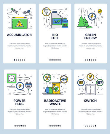 Vector set of mobile app onboarding screens. Accumulator, Bio fuel, Green energy, Power plug, Radioactive waste, Switch web templates and banners. Thin line art flat icons for website menu. Vecteurs