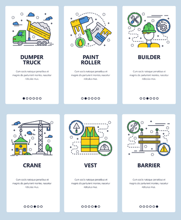 Vector set of mobile app onboarding screens. Dumper truck, Paint roller, Builder, Crane, Vest, Barrier web templates and banners. Thin line art flat icons for website menu.