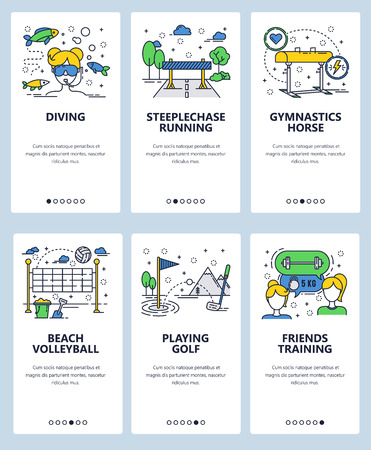 Vector web site linear art onboarding screens template. Sport and fitness icons. Scuba diving, beach volleyball, running and golf. Menu banners for website and mobile app development. Modern design flat illustration.
