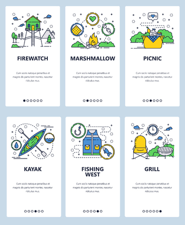 Vector web site linear art onboarding screens template. Outdoor camping, picnic and sport activities icons. Fishing, kayaking. Menu banners for website and mobile app development. 矢量图像