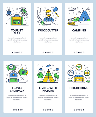 Vector web site linear art onboarding screens template. Outdoor travel, hiking and camping. Woodcutter, tourist map and hitchhiking. Menu banners for website and mobile app development Illustration