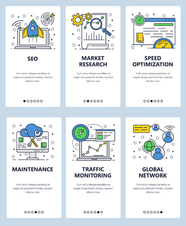 Vector web linear art onboarding screens template. SEO and digital marketing, website loading speed optimization and traffic monitoring. Menu banners for website and mobile app development. Modern design flat illustration.