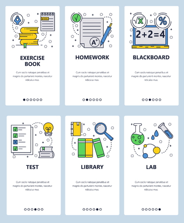 Vector web site linear art onboarding screens template. School education, library, books and chemistry lab. Math equation on blackboard and test results. Menu banners for website and mobile app development. Modern design flat illustration.