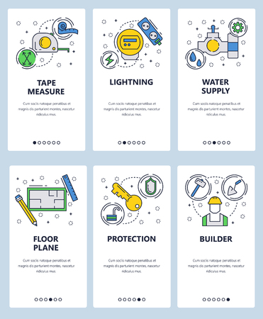 Vector web site linear art onboarding screens template. House utilities, construction worker, floor plan and electricity utilities. Menu banners for website and mobile app development. Modern design flat illustration.