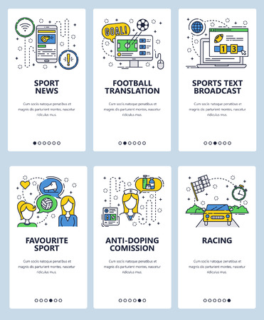 Vector web site linear art onboarding screens template. Sport news and online tv broadcast. Favourite sport and anti-doping comission. Menu banners for website and mobile app development.