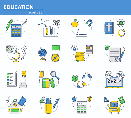 Vector set of School education icons in thin line style. Physics, chemistry, biology and other subjects. Website UI and mobile web app icon. Outline design illustration.