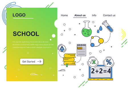 Vector web site linear art design template. School education subjects. chemistry, math. Landing page concepts for website and mobile development. Modern flat illustration.