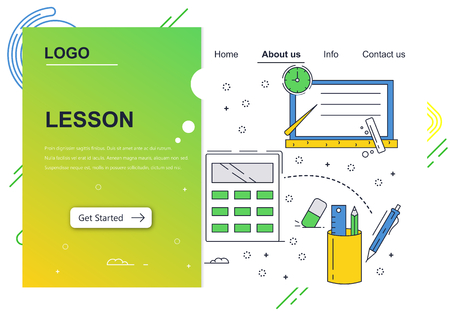 Vector web site linear art design template. School education, knowledge, accessories. Landing page concepts for website and mobile development. Modern flat illustration.