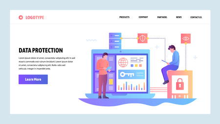 Vector web site gradient design template. Data protection, cyber security and secure login. Landing page concepts for website and mobile development. Modern flat illustration Ilustrace
