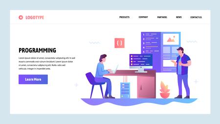 Vektor-Website-Gradienten-Design-Vorlage. Programmierung und Entwicklung von Software-Apps. Landingpage-Konzepte für die Website- und Mobile-Entwicklung. Moderne flache Illustration Vektorgrafik