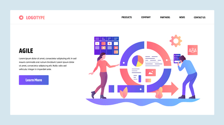 Vector web site design template. Agile project management and Scrum task board. Agile software development and Kanban. Landing page concepts for website and mobile development