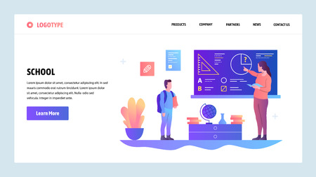 Vector web site design template. School education. Teacher gives lesson to pupil. Landing page concepts for website and mobile development. Modern flat illustration