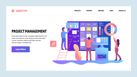 Vector web site design template. Agile project management and business teamwork. Landing page concepts for website and mobile development. Modern flat illustration Illusztráció