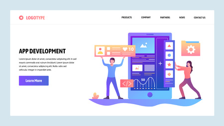 Vector web site gradient design template. Coding and software app development. Landing page concepts for website and mobile development. Modern flat illustration
