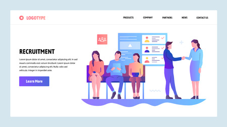 Vector web site gradient design template. Human resources and hiring. Recruitment, head hunter, job. Landing page concepts for website and mobile development. Modern flat illustration.