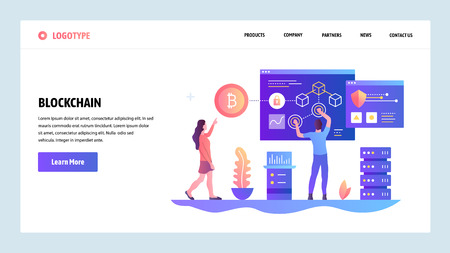 Vector web site design template. Blockchain and cryptocurrency technology. Bitcoin. Landing page concepts for website and mobile development. Modern flat illustration.