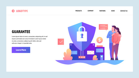 Vector web site design template. Family budget and financial insurance. Guarantee and secure in future. Landing page concepts for website and mobile development. Modern flat illustration.